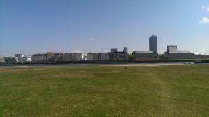 Blick auf Carlstadt - Ayka als Punkt in der Mitte...